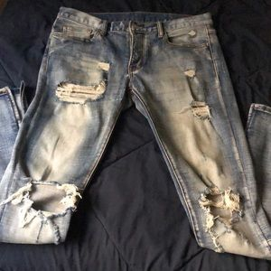 "Men's VTG ""m n m l"" distress blue Jeans, Size 32"